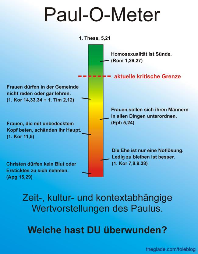 Paul-O-Meter - Überwundene Wertvorstellungen des Paulus